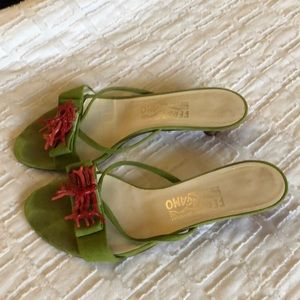 Ferragamo lime suede and coral sandals size 38